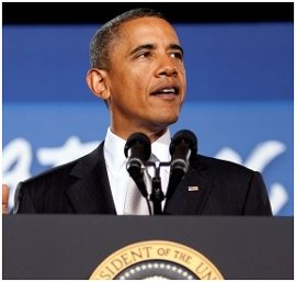 President Obama with the iconic Shure Sm57